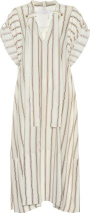 Striped Silk Crepe Dress