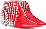 Crystal Patent Leather Ankle Boots