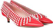 Crystal Patent Leather Pumps