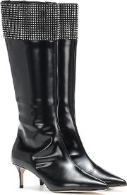 Embellished Leather Knee High Boots