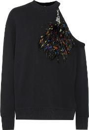 Feather Embellished Cotton Sweatshirt