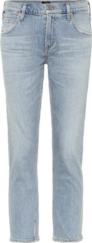 Elsa Mid Rise Cropped Slim Jeans