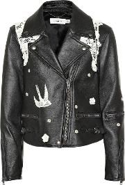 Lace Embroidered Leather Jacket