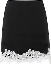 Lace Trimmed Crepe Miniskirt