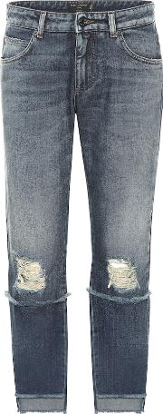 Distressed Mid Rise Cropped Jeans