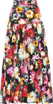 Floral Cotton Poplin Maxi Skirt