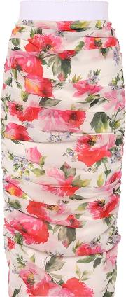 Floral Ruched Stretch Silk Skirt