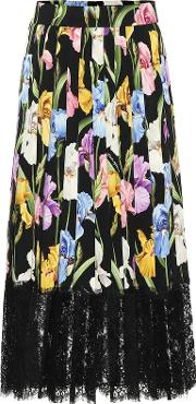Floral Stretch Silk Charmeuse Skirt