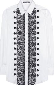 Lace Trimmed Cotton Shirt