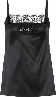 Lace Trimmed Silk Satin Camisole
