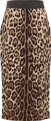 Leopard Crepe Pencil Skirt