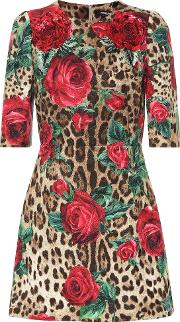 Printed Cotton And Silk Minidress