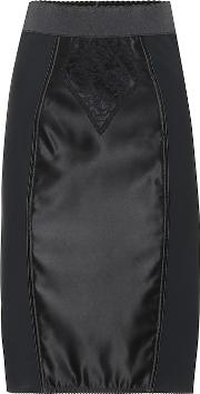 Satin And Lace Pencil Skirt
