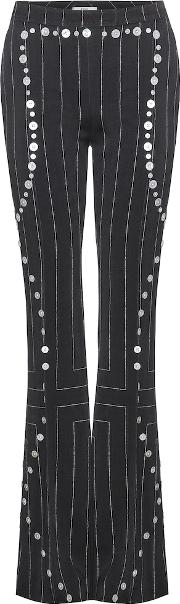 Embellished Flared Wool Trousers