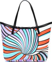 Printed Leather Trimmed Tote