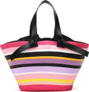 Striped Leather Trimmed Tote