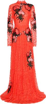 Carolyn Embroidered Applique Lace Gown