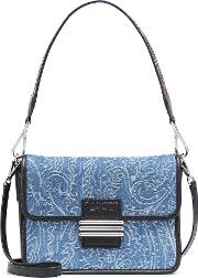 Denim And Leather Shoulder Bag