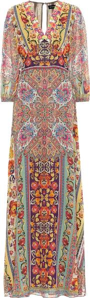 Embroidered Silk Maxi Dress