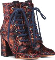 Exclusive To Mytheresa Paisley Velvet Ankle Boots