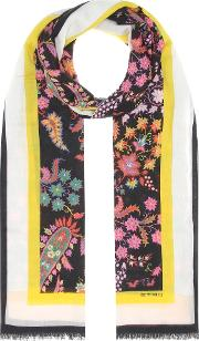 Floral Printed Cashmere Scarf