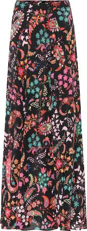 Floral Silk Crepe Maxi Skirt
