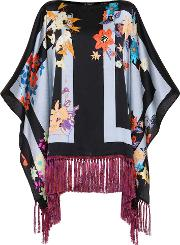 Fringed Silk Poncho Top