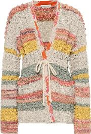 Jacquard Cotton And Linen Cardigan
