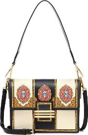 Printed Leather And Suede Shoulder Bag