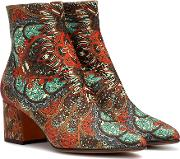 Printed Satin Ankle Boots