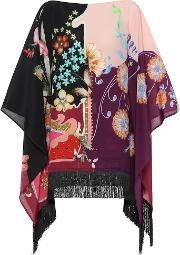Printed Silk Poncho Top