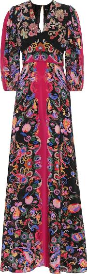 Sequined Paisley Silk Dress