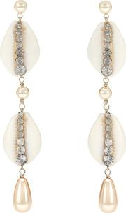 Shell And Crystal Drop Earrings