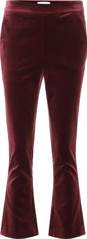 Slit Cropped Velvet Pants
