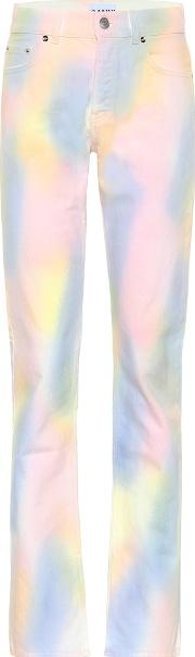 High Rise Straight Rainbow Jeans