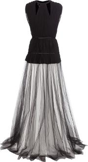 Pleated Silk Crepe And Tulle Dress