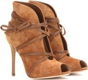 Suede Open Toe Ankle Boots