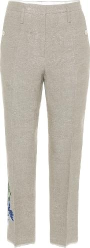 Embroidered Linen Trousers