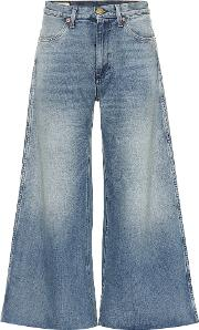 Cropped High Rise Wide Leg Jeans