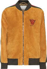 Embroidered Suede Bomber Jacket