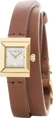 G Frame Small Square Leather Watch