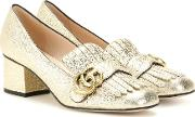 Metallic Leather Loafer Pumps