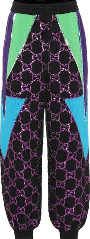 Sequined Wool Track Pants