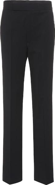 Zipper Trimmed Wool Blend Trousers