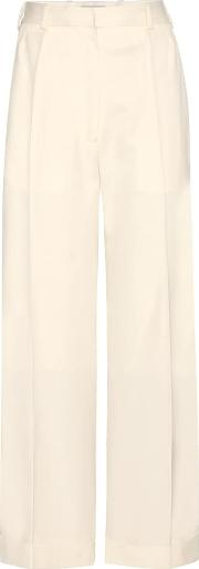 Cropped Wide Leg Wool Trousers