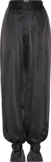 High Rise Silk Satin Trousers