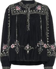 Dyron Embroidered Silk Blouse