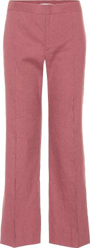 Oxy Linen Blend Cropped Trousers