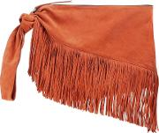 Farwo Fringe Trimmed Suede Pouch