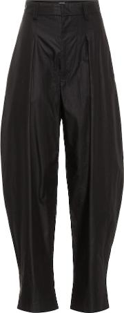 High Waisted Cotton Trousers